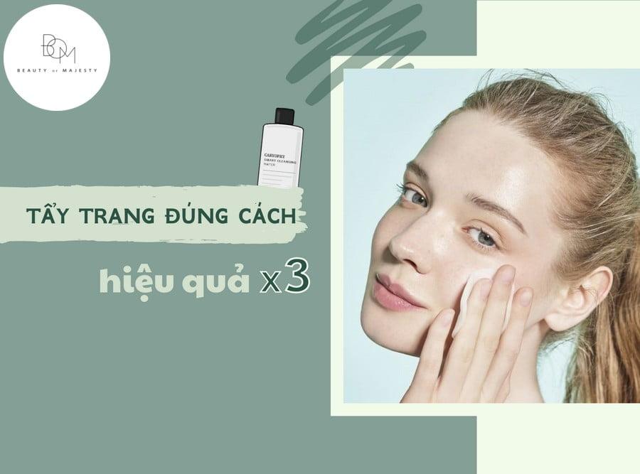 Nước tẩy trang giúp rửa trôi mỹ phẩm, tạp chất và bụi bẩn trên bề mặt da.