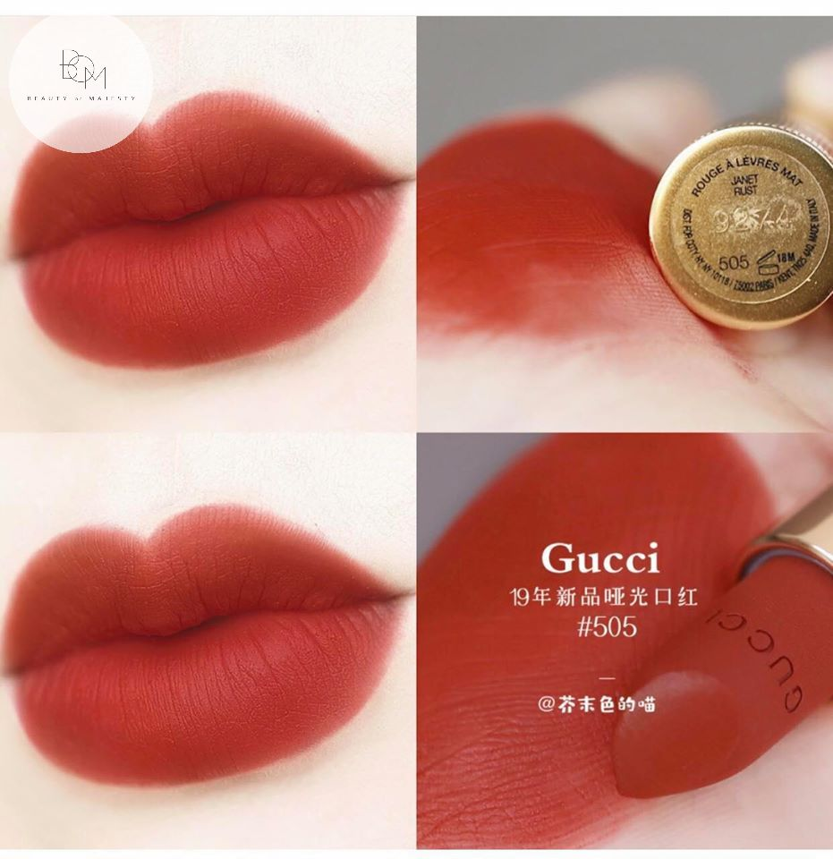 Son thỏi Gucci 505 sở hữu chất mềm mịn, che khuyết điểm siêu tốt, hạn chế vân môi, lại còn giữ màu được lâu