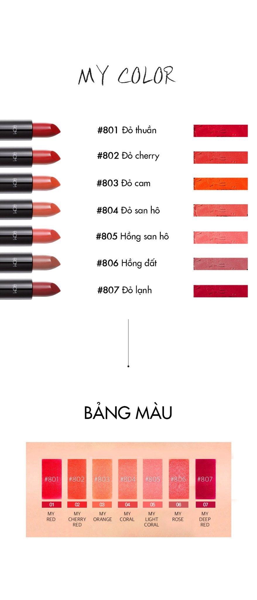 7 màu son đỉnh cao của dòng son lì ăn không trôi - B.O.M Lipstick