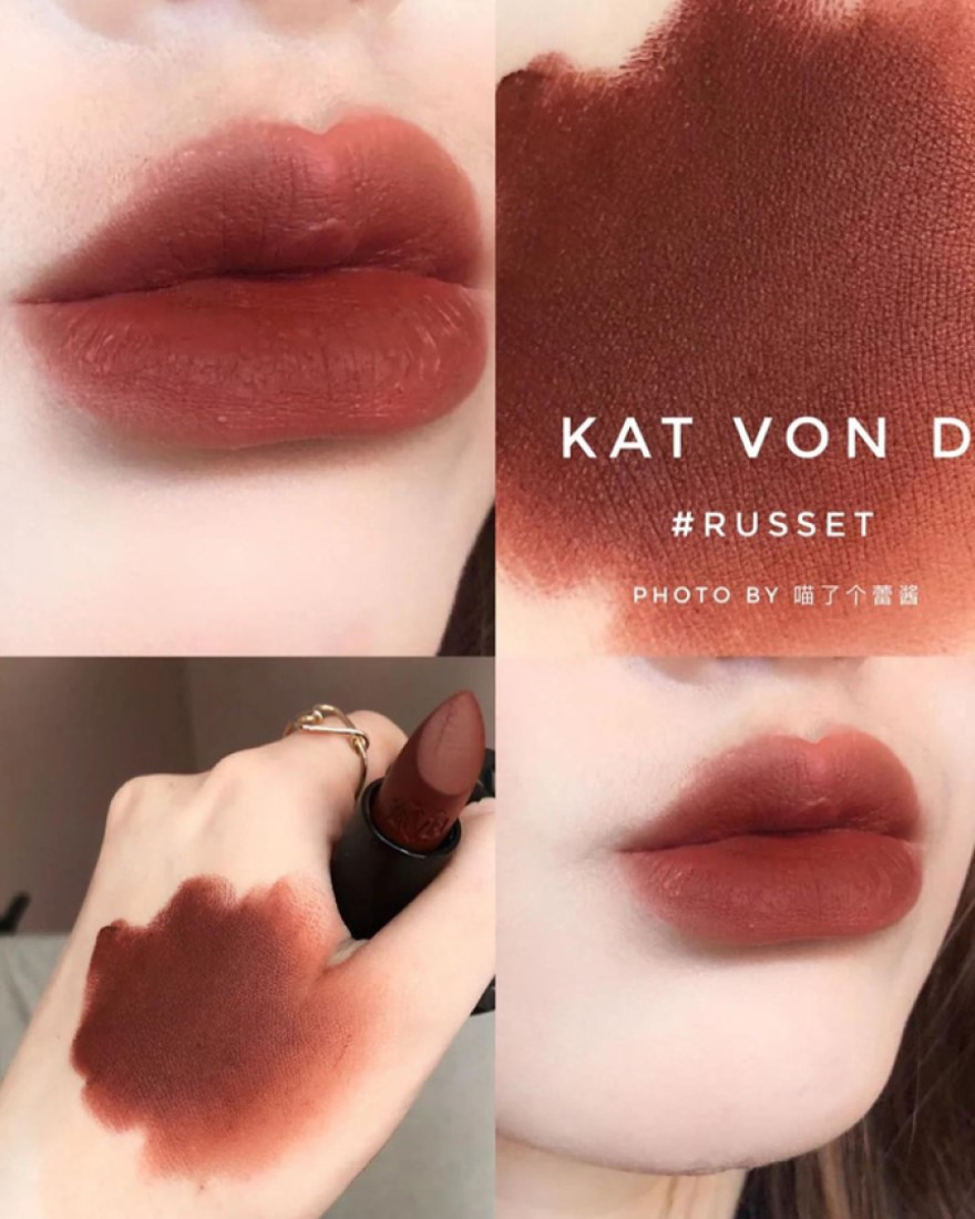 Son thỏi Kat Von D màu Russet nghe có vẻ lạ lẫm ở nước ta, nhưng thực sự là thỏi son ăn không trôi đáng để thử