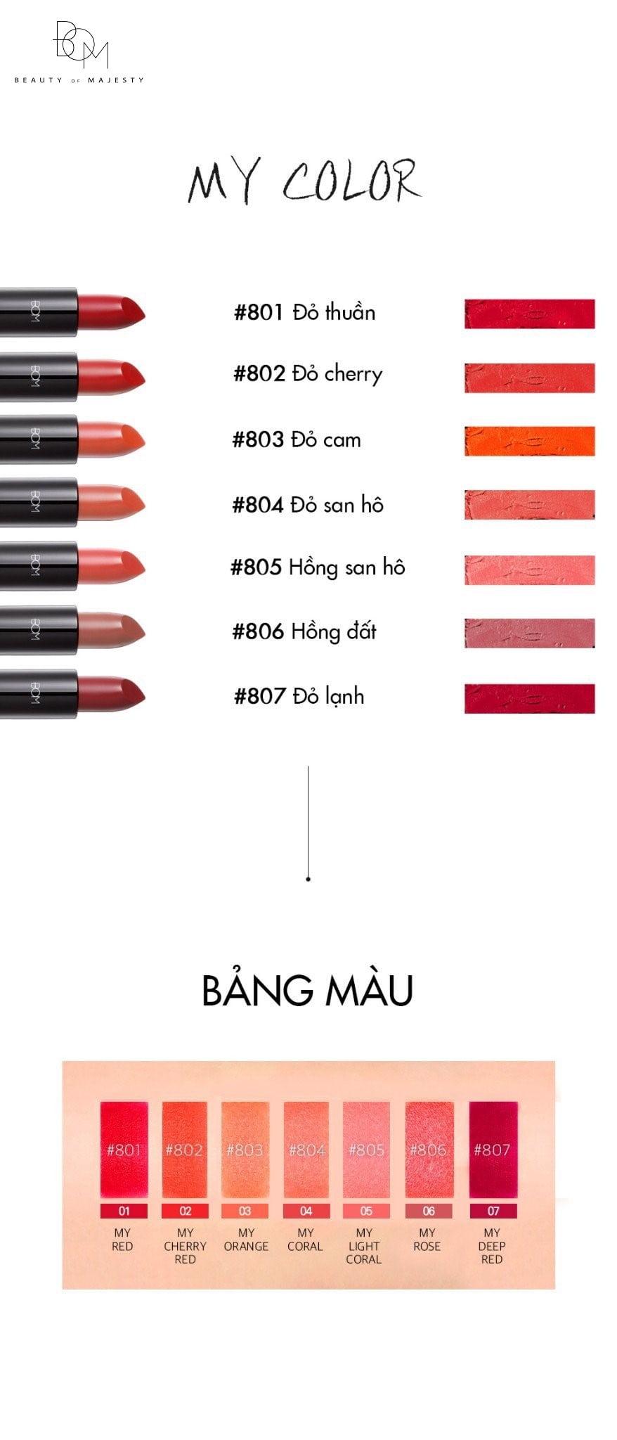 Bảng màu đầy ấn tượng của B.O.M Lipstick với 7 màu sắc thời thượng, dễ dùng