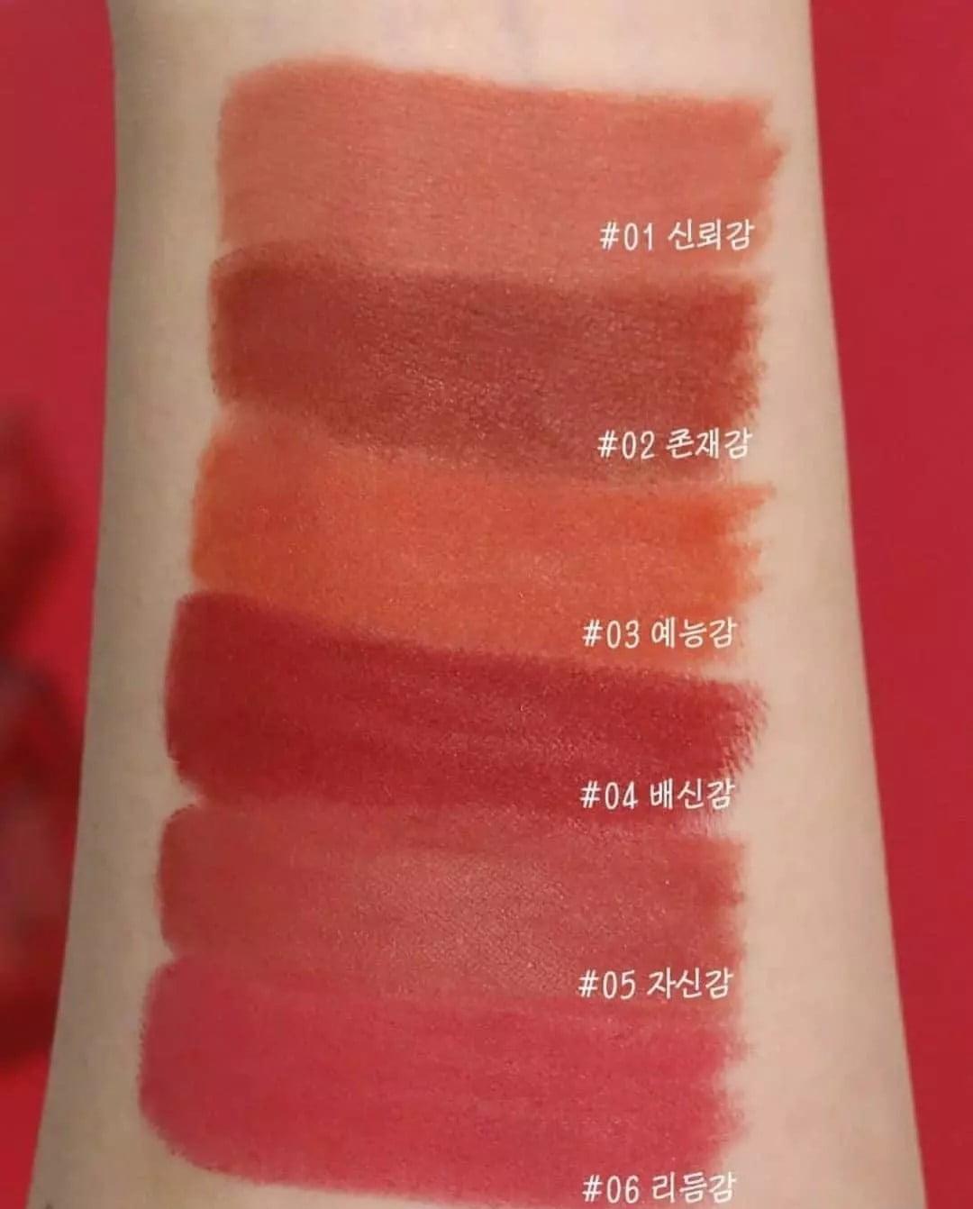 Bảng màu của son thỏi lì Hàn Quốc Bbia 05 với những màu sắc hot và dễ dùng